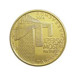 Zlatá mince 5000 Kč 2014 Jizerský most na trati Tanvald - Harrachov proof